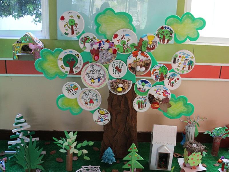 """为了能让全体幼儿、家长与教师参与到爱鸟周的活动中,我们通过环境的创设,让大家了解此次活动的主题、意义,激发参与活动的热情。我们制定标语:""""爱鸟护鸟"""",由大班的幼儿以爱鸟的绘画的方式来装饰大树,让幼儿知道鸟类是人类的朋友,感受小鸟快乐的生活;中班的幼儿请爸爸妈妈们一起参与制作,利用废旧材料给小鸟们做一个家。有的用柳条编织成的,有的用纸箱做了一个窝,有的用报纸做了小鸟喜欢的大树等。"""
