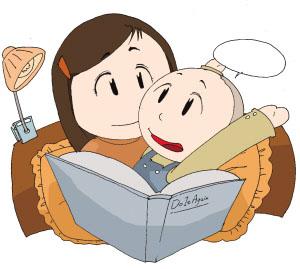 3岁的月月躺在床上听妈妈讲故事.