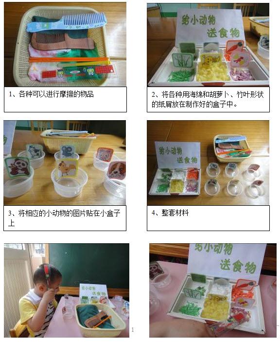 """材料:   塑料制的梳子、尺子和笔、塑料袋、纸屑、毛衣、气球、两种颜色的自制纸盒若干等   玩法:   幼儿选择塑料杯子、尺子、笔、塑料袋等塑料制品通过摩擦的方法把""""食物""""——纸屑胡萝卜、纸片竹叶、海绵等从食物盒里运用到小动物们的家里。    观察要点:   1、 观察幼儿在操作中的兴趣点。   2、 观察幼儿的操作方法,有哪些发现。   活动提示:   1、 这一小实验建议在小班下学期进行,教师不要过于强调幼儿对于摩擦起电或静电等知识的理解,应关注幼儿"""