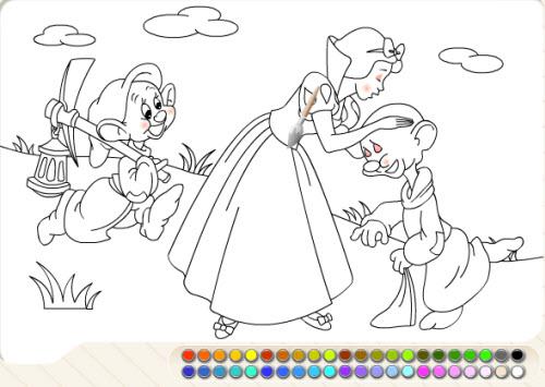 涂色动画:白雪公主与七个小矮人
