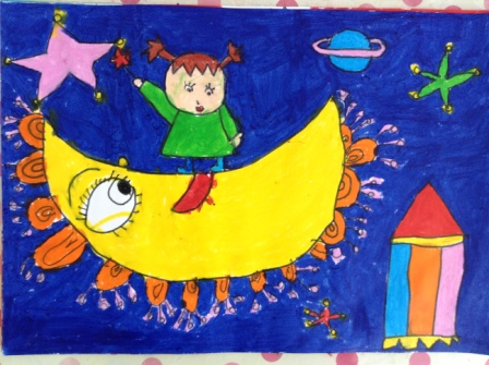 外太空儿童画-MINNIE图片
