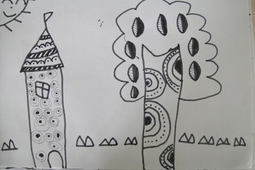 5月美术作品——线描画周围的风景