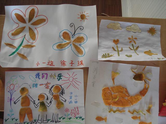 我们和爸爸妈妈一起制作的水果娃娃和橘子皮贴画!