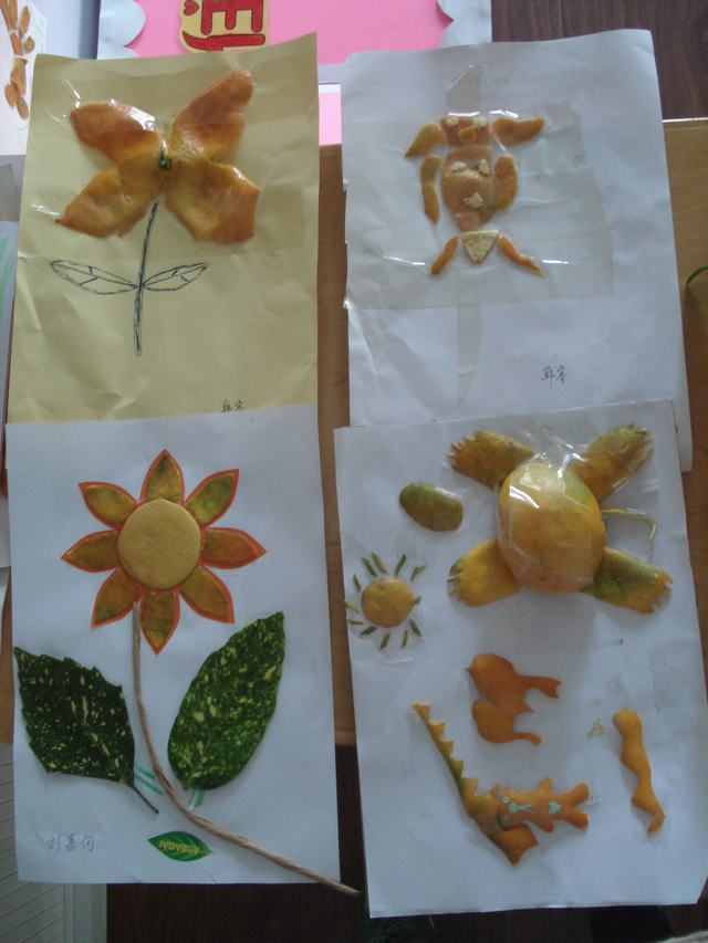 的水果娃娃和橘子皮贴画!