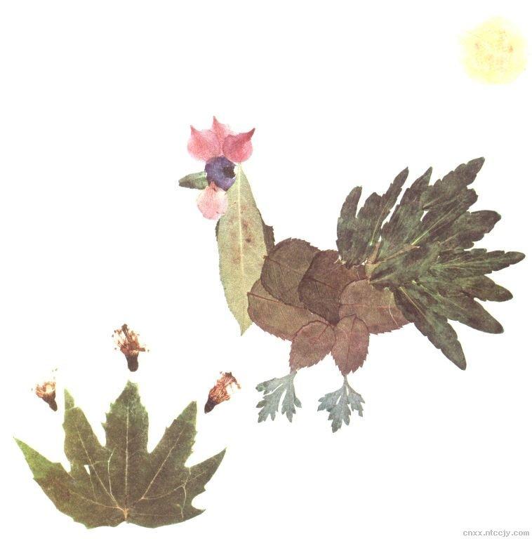 树叶粘贴画动物类