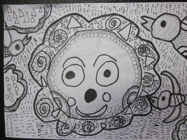幼儿线描画体现黑白灰点线面创新展示