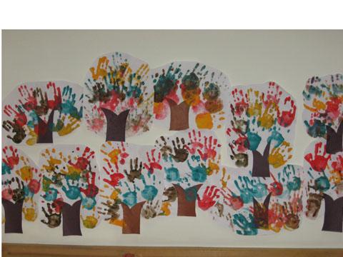 手印画树林