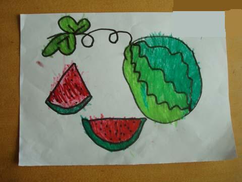 美术:胡爷爷的西瓜 活动目标:  1,引导幼儿学习用画圆和波浪线