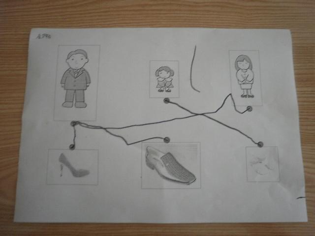 今天的活动宝宝学会了用直线把鞋子进行