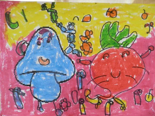 可爱蔬菜娃娃简笔画内容图片展示