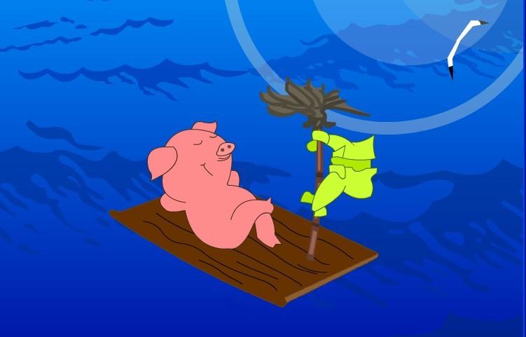 船上插着小风车图片