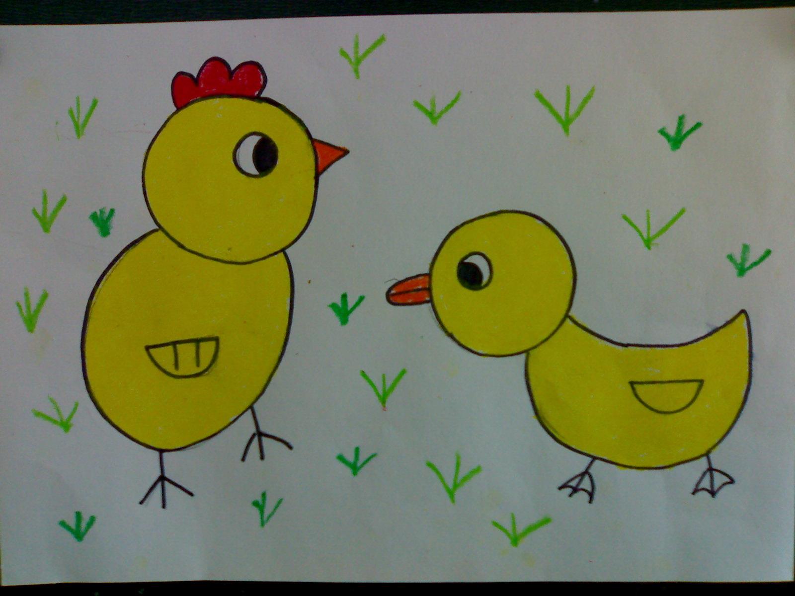 怎么画小鸡和小鸭简笔画画法5张