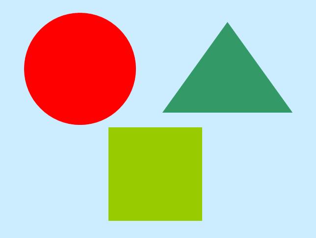 如我看到了红色的圆形,深绿的三角形,为接下来捉迷藏游戏做铺垫) &#16