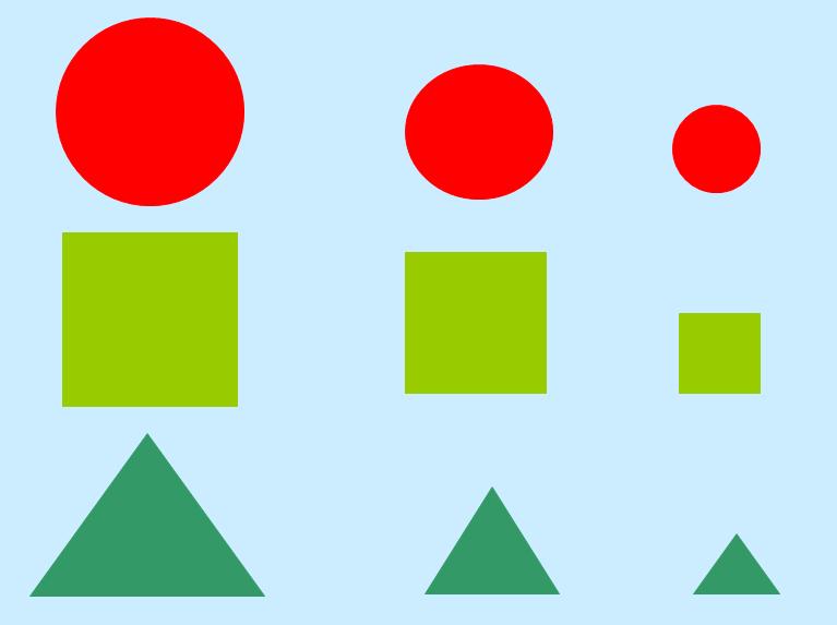 如我看到了红色的圆形,深绿的三角形,为接下来捉迷藏游戏做铺垫) &