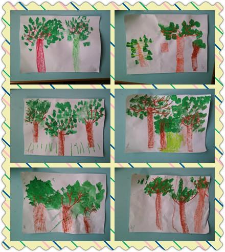 大树的手臂是长长的树枝,树枝上长着小叶子,大树的脚在泥土里,是树根.