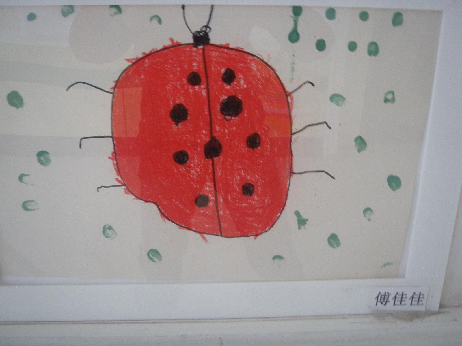 记住哦,七星瓢虫是益虫,那么就应该画7个点哦.
