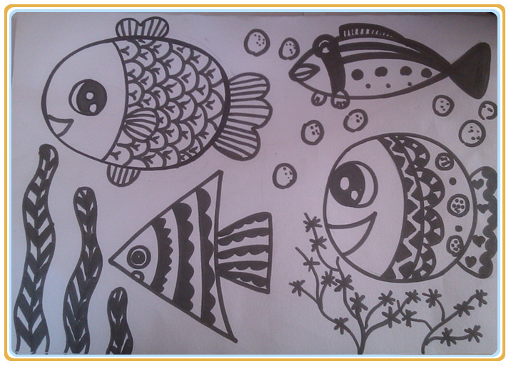 幼儿学画鱼步骤