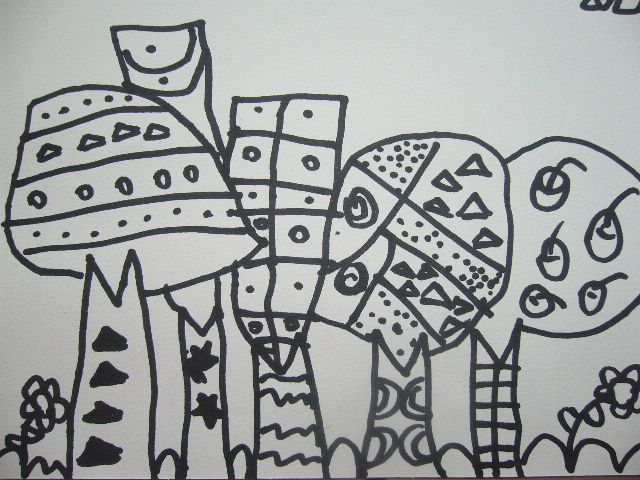 儿童画 简笔画 手绘 线稿 640_480