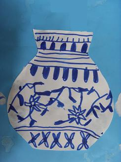 幼儿青花瓷纸盘画 儿童青花瓷纸