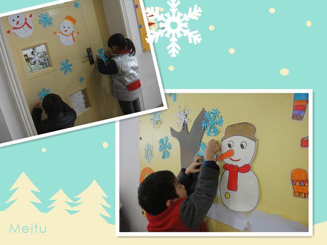 手工纸剪出来的小雪花可真漂亮,我们一起来布置教室吧!图片