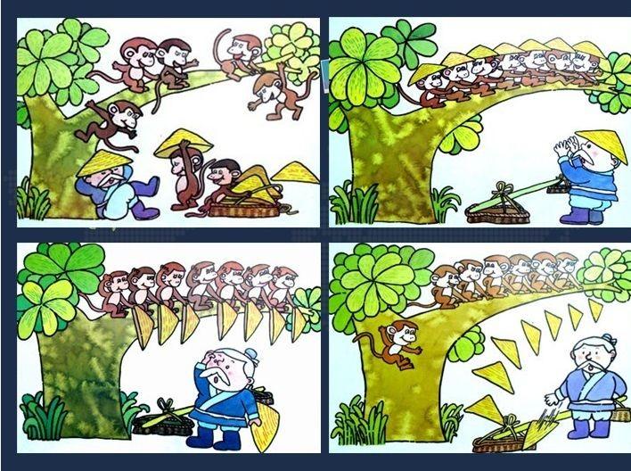躲在大树上的猴子看见老爷爷着急的样子,一齐大声笑起来.