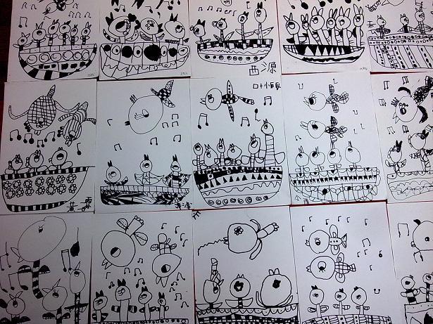 黑白线描画教师范画