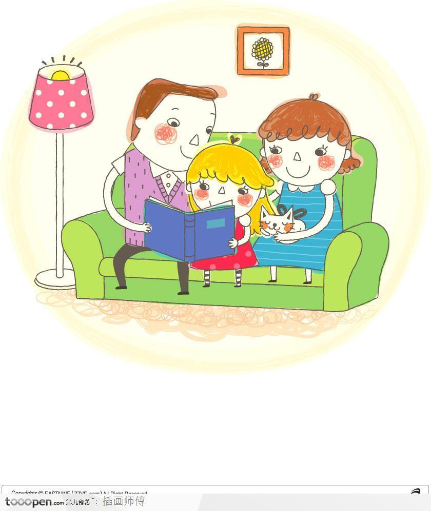 卡通一家人头像简笔画