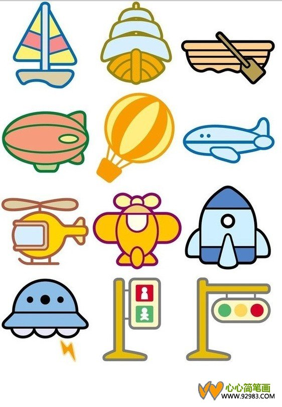 儿童彩色交通工具简笔画 2 其他交通工具 简笔画大全