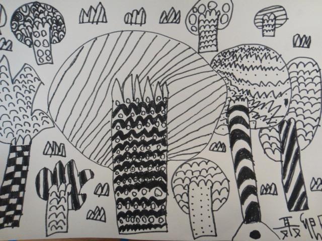 园所主页 班级主页 大三班 宝贝作品  树林风景画——聂卿怡