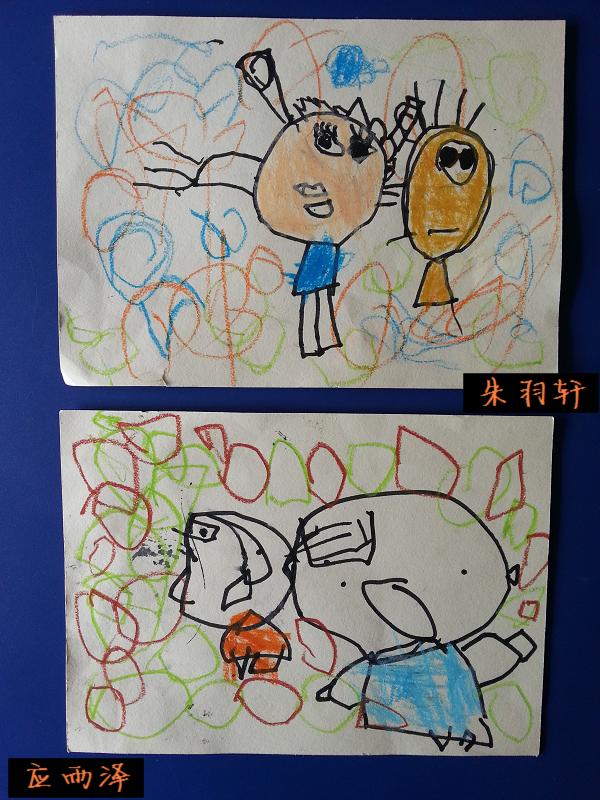 """单线条手,脚的""""蝌蚪人""""特别能够反映小班孩子的绘画特点."""