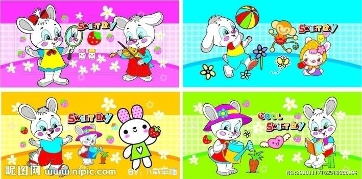可爱的小白兔幼儿画