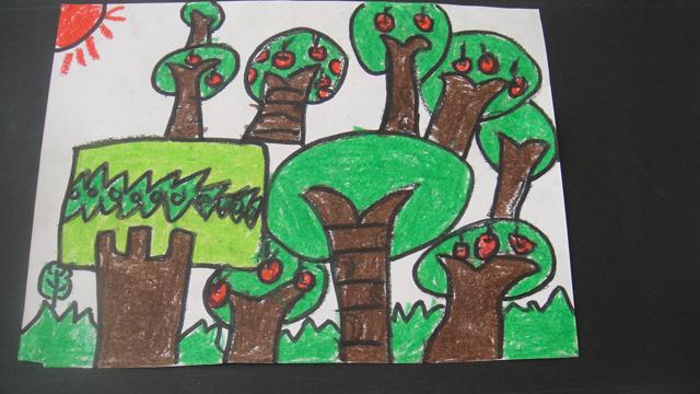 园所主页 毕业班 大五班 幼儿作品  陈一炜——美丽的小树林
