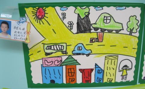 幼儿绘画作品马路边_中班绘画马路上的车_绘画马路上的车;