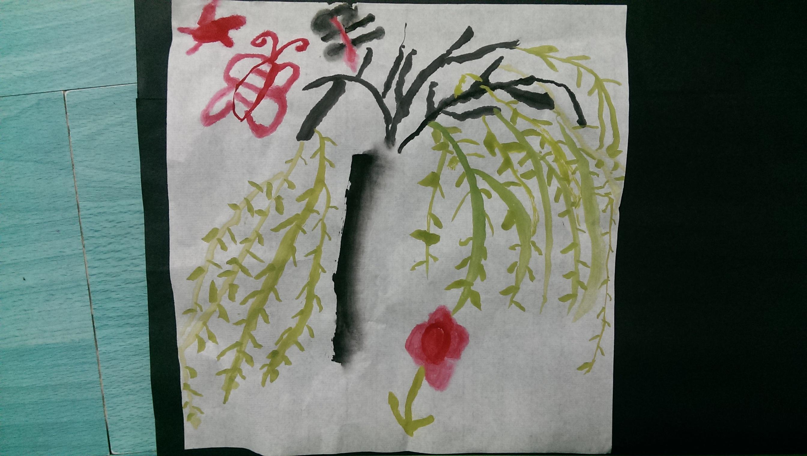 园所主页 中3班 精彩瞬间  水墨画作品《柳树》              发布