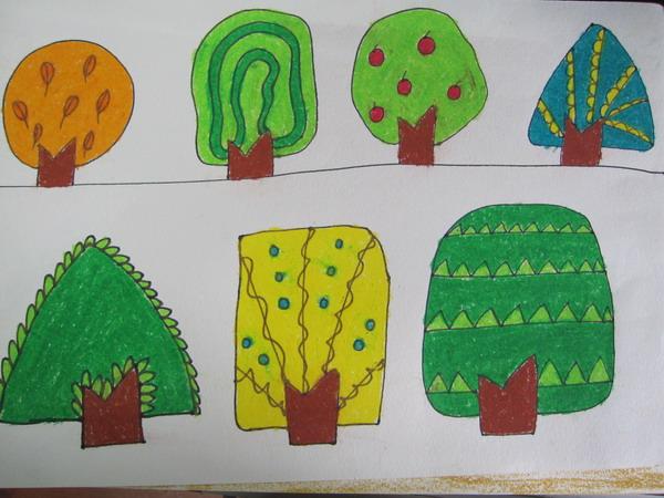 注:树各种形状的画法,练习三角形,圆形,和直线,曲线等绘画
