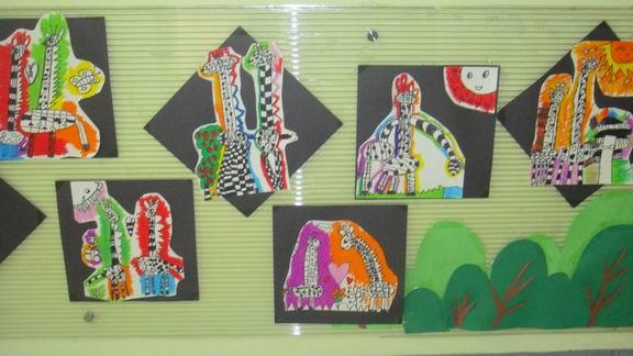 长颈鹿绘画作品展示