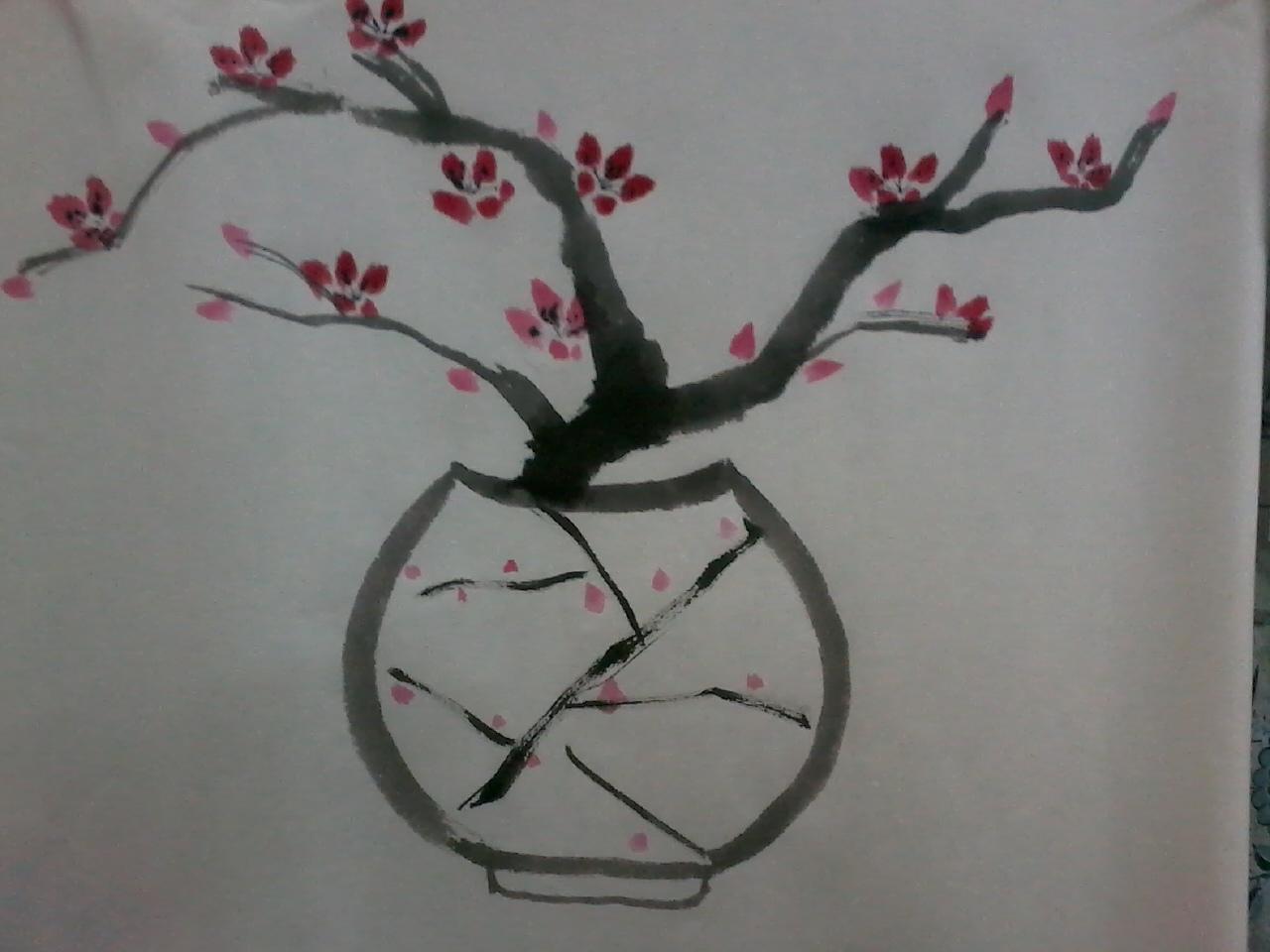 2,用大笔,浓墨,侧峰转中锋的方法画梅花的枝,千万别画成对称造型.图片