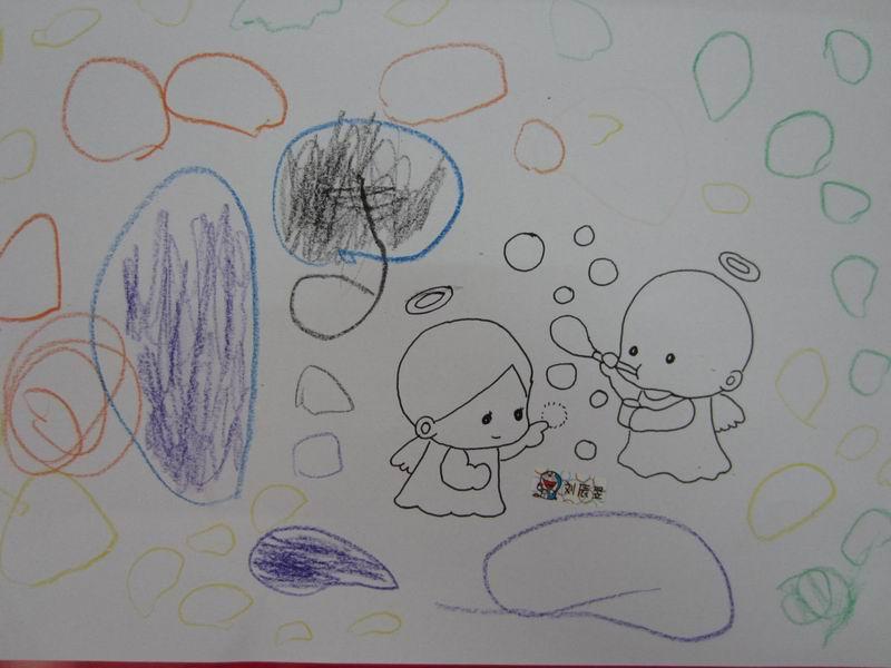 小孩吹泡泡简笔画