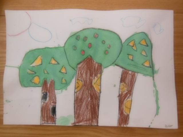 春天的树林里有各种不一样的树,想象力很丰富,添画更清晰的背景就很