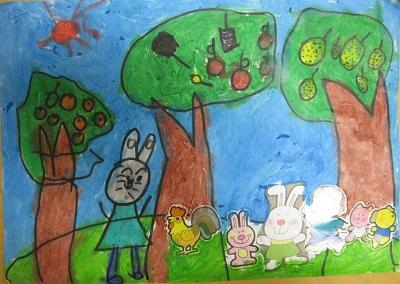 这是安妍润的拼画:快乐的森林乐园!