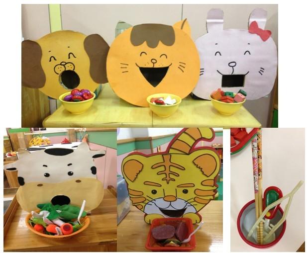 材料提供:小动物头像,不同形状的积木,小碗,勺子,夹子,筷子.