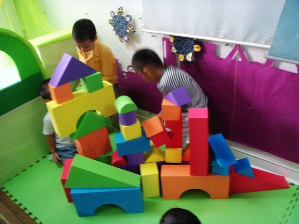 我们学做小小建筑师, 用泡沫积木造房子, 用雪花片造花园, 用搭扣