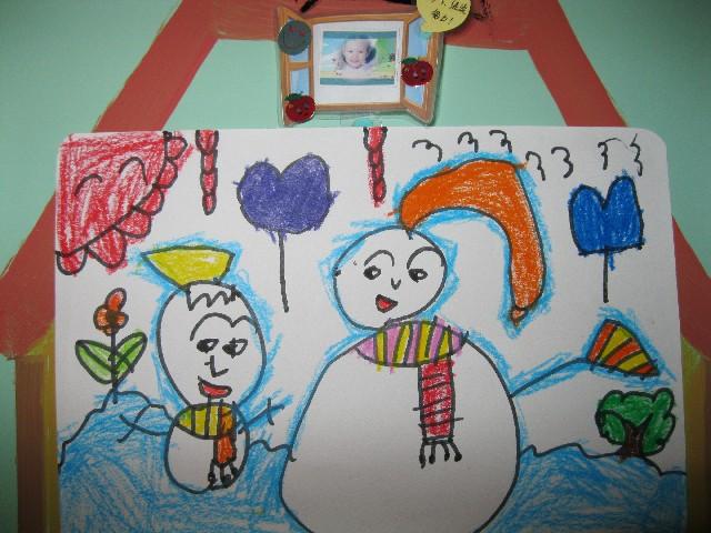 幼儿小雪人简笔画