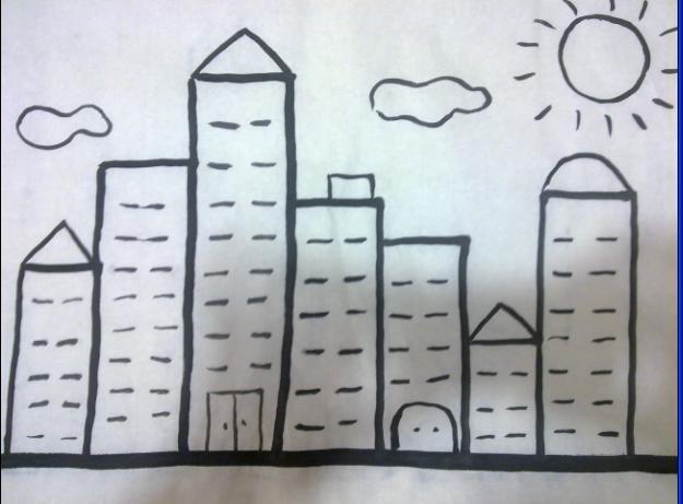今天我们尝试画高高低低的房子.图片