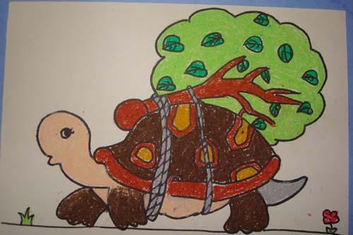 """""""小乌龟把苹果树绑在背上,出发了. 爬呀,爬呀,苹果树开花了."""