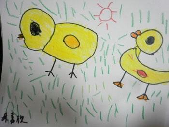 小鸭吃鱼简笔画