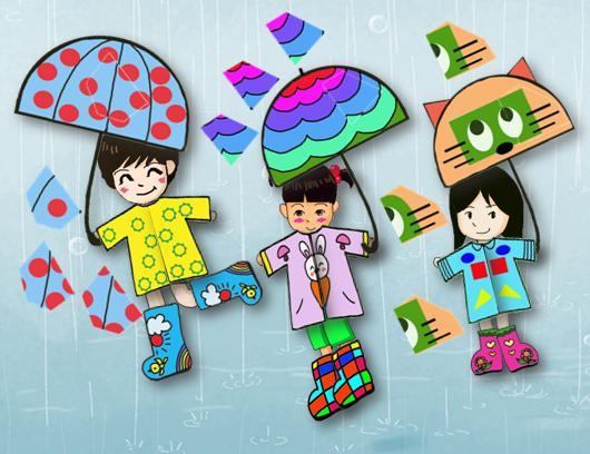 穿雨衣的小朋友简笔画