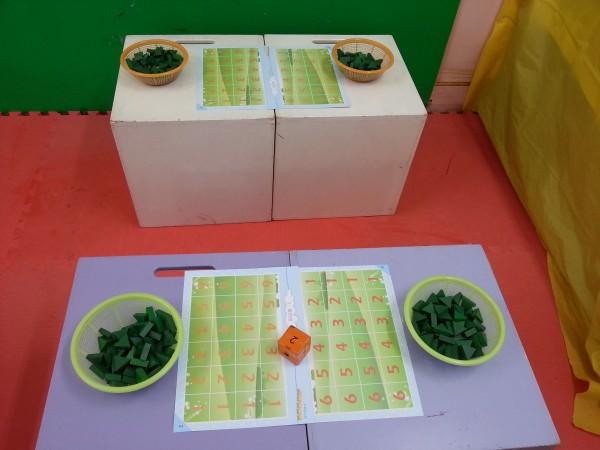 名称:春天的花园 环境创设: 作品呈现: 要点: 1,在游戏中能按数取物.