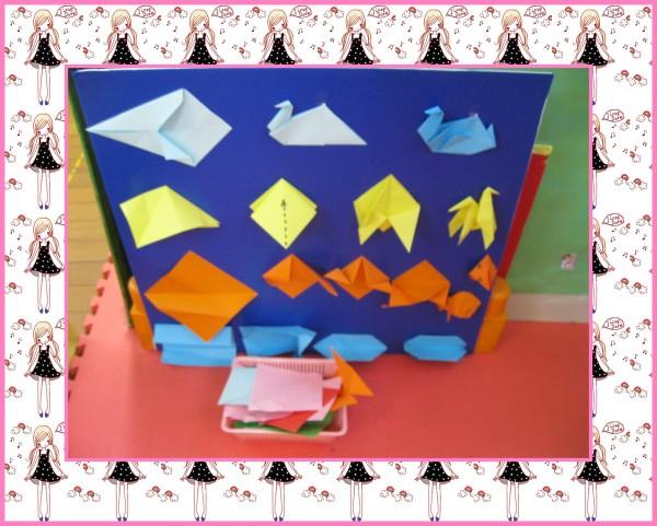名称:小小动物园 材料:(白鹅,小马,金鱼,小猪)折纸步骤图,动物园背景