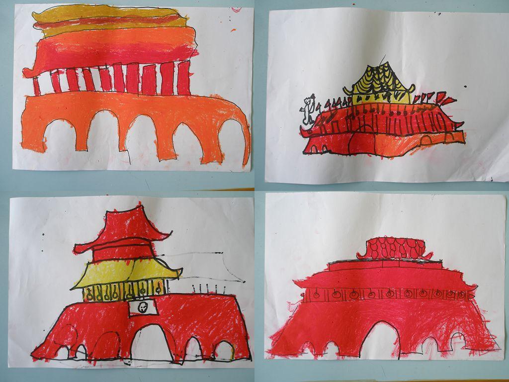 北京天安门简笔画涂色